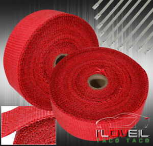 30ft Cat Test Down Pipe Piping Exhaust Heat Wrap Cover stainless Zip Tie Red