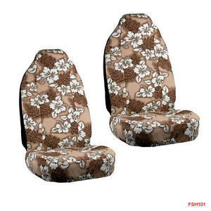 New Tan Hawaiian Flowers Hibiscus Floral Print Car Front Bucket Seat Covers