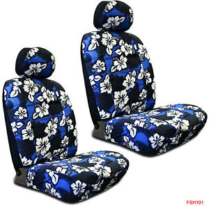 New Blue Hawaiian Flowers Hibiscus Print Car Front Low Back Bucket Seat Covers