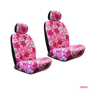New Pink Hawaiian Flowers Hibiscus Print Car Front Low Back Bucket Seat Covers