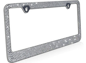 Metal License Plate Frame Bling Rhinestones Chrome Swarovski Crystal Diamond D