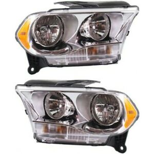 Headlight Set For 2011 2013 Dodge Durango Left And Right Chrome Housing 2pc
