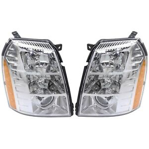 Headlight Set For 2007 2009 Cadillac Escalade Left And Right Hid With Bulb 2pc