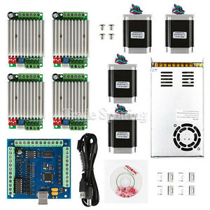 Cnc 4 axis Kit 4 With Tb6600 Driver Mach3 Usb Breakout Board Nema23 Motors
