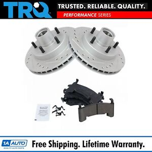 Performance Brake Rotor Drilled Slotted Coated Ceramic Pad Front Kit