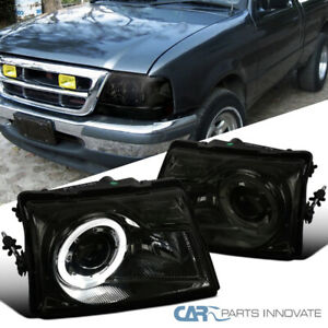 For Ford 98 00 Ranger Pickup Smoke Projector Headlights Head Lamps W Halo Rim