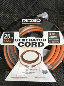 New Ridgid 25 Generator Power Cord Transfer Switch 12 gauge 20 Amp 5000 Watt