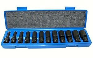 12 Pc 3 8 Drive Universal Swivel Impact Socket Set Cr Molybdenum Sae