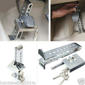 Car Chrome Anti Theft Device Stainless Steel Clutch Brake Accelerator Rod Lock