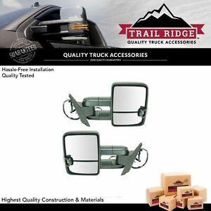 Trail Ridge Tow Mirror Power Heated Signal Spotlight Textured Black Pair For Gm