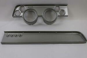 67 68 Cougar W o Ac Silver Dash Carrier Panel For 5 2 1 16 Gauges
