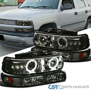 99 02 Silverado 00 06 Tahoe Smoke Led Drl Halo Projector Headlights bumper Lamps