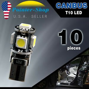 10x White T10 Wedge Canbus Error Free 5050 5smd Car Led Light Bulbs W5w 194 168