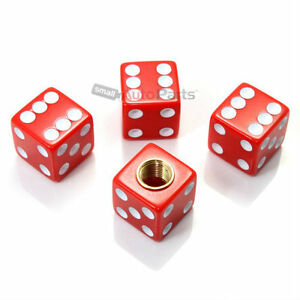 4 Red Gem Dice Tire Wheel Stem Air Valve Caps Covers Car Truck Hot Rod Atv