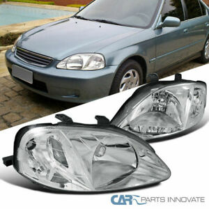 Fit 99 00 Honda Civic Si Jdm Clear Head Lights Front Driving Head Lamps Pair