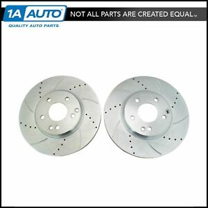Nakamoto Performance Brake Rotor Drilled Slotted Front Coated Pair For Mercedes
