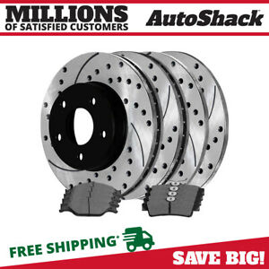 Front Rear Drilled Slotted Rotors And Ceramic Pads For 1999 2004 Ford Mustang