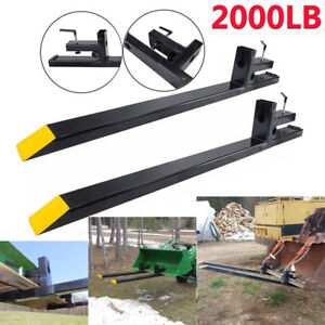 Pro 2000lbs Capacity Clamp On Pallet Forks Loader Bucket Skidsteer Tractor Chain