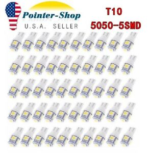 50x Super White T10 5050 5 Smd Led Interior Light Bulbs W5w 192 194 158 168 2825