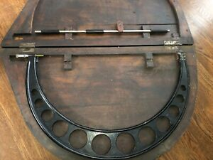 Antique J t Slocomb Outside Micrometer 22 23 With Wooden Case Over 100 Years