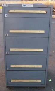 Equipto Grey 5 Drawer Industrial Tool parts Cabinet 30 l X 28 w X 59 H