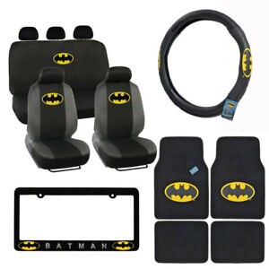 New Batman Front Back Car Truck Floor Mats Seat Covers Steering Wheel Cover
