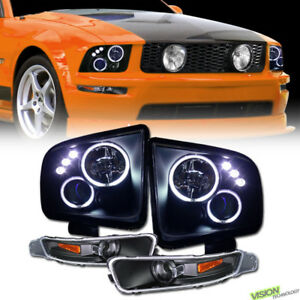 Black Ccfl Halo Led Projector Headlights parking Bumper Am Jy 05 09 Ford Mustang