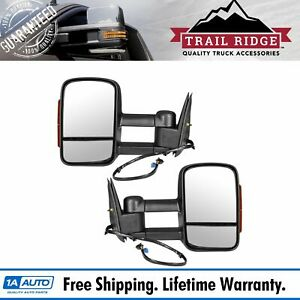 Trail Ridge Tow Mirror Power Heated Amber Signal Texture Black Pair For Gm Truck