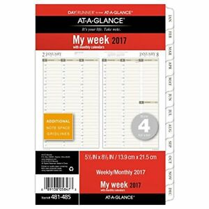 Day Runner Weekly monthly Planner Refill 2017 5 5 X 8 5 Size 4 481 4 New