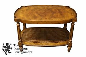 Drexel Heritage Distressed Burlwood Mid Century Side Accent Table Rattan Tiered