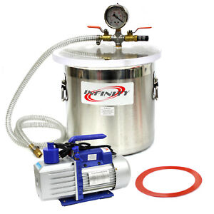 3 Gallon Vacuum Chamber And 2 5cfm Single Stage Pump To Degassing Silicone Kit