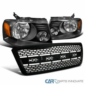 For 04 08 Ford F150 Pickup Black Headlights Abs Raptor Style Front Hood Grille