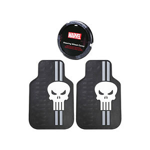 3pc Punisher Universal Front Rubber Floor Car Truck Mat Steering Wheel Cover