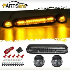 3pcs Clear Cover Amber 30 Led Cab Roof Top Marker Lights For 02 07 Chevrolet gmc