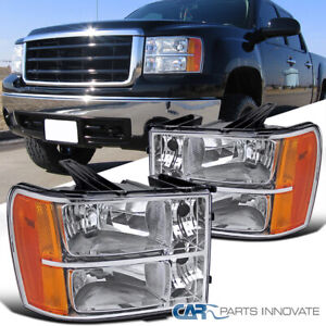 07 13 Gmc Sierra Pickup Clear Lens Replacement Headlights Headlamps Left right