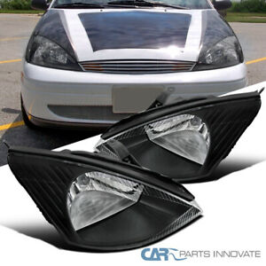 Black For 00 04 Ford Focus Zx4 Se Lx Clear Headlights Driving Head Lamps Pair