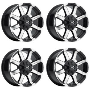 Set 4 17 Vision 413 Valor Black Machined Rims 17x8 5 6x5 5 0mm Chevy Gmc 6 Lug