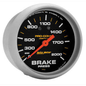 Auto Meter Brake Pressure Gauge 5426 Pro comp 0 To 2000 Psi 2 5 8 Mechanical