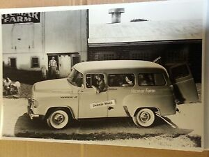 12 By 18 Black White Picture Of 1958 Dodge Town Wagon Ricmar Farm