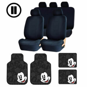 Mickey Mouse Expressions Black Rubber Floor Mats Uaa Poly Seat Covers Combo