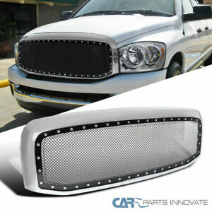 06 08 Dodge Ram 1500 2500 3500 Mesh Rivet Style Pickup Wire Grille Chrome Shell