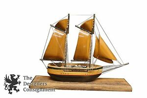 Vintage Handcrafted 15 Wooden Model Sail Boat Schooner Yaht Arts Crafts