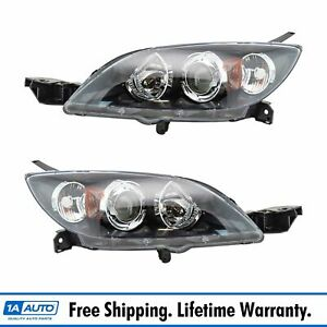 Headlights Headlamps Lights Left Right Pair Set For 04 09 Mazda 3 Hatchback
