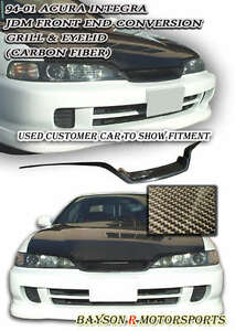 Jdm Frontend Conversion Eyelid Grill Trim Carbon Fits 94 01 Integra