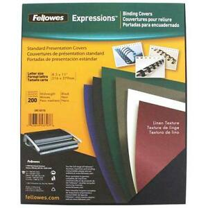 New Fellowes Black Linen Letter Size Binding Covers 200pk Free Shipping