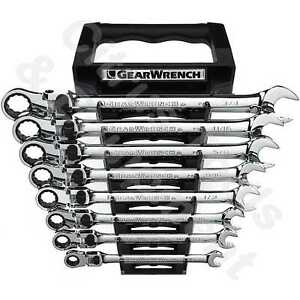 Gearwrench 85798 8 Pc Sae Xl Locking Flex Head Combination Ratchet Wrench Set
