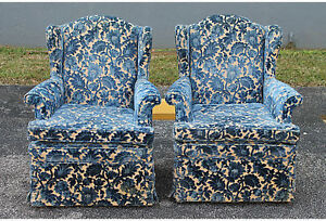 Pair Cut Crushed Velvet Wingback Chairs Mid Century