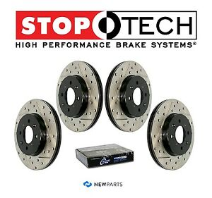 For Acura Tl 04 08 Front Rear Stoptech Drilled Slotted Brake Rotors Set Kit