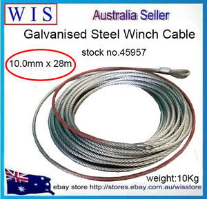 Galvanised Steel Wire Winch Rope Cable 10mm X 28m 12000lb Rope Wire Replacemen