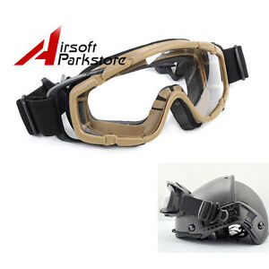 Tactical Airsoft Safety Goggles Glasses Eye Wear Googles for Helmet wSide Rails